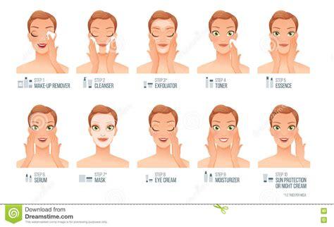 Toner Di Skin Care basic skincare steps vector infographic
