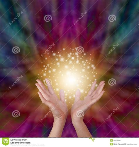 magical healing energy  radiating color background stock
