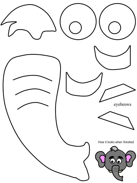 printable animal ears jungle book elephant snout template for costume library