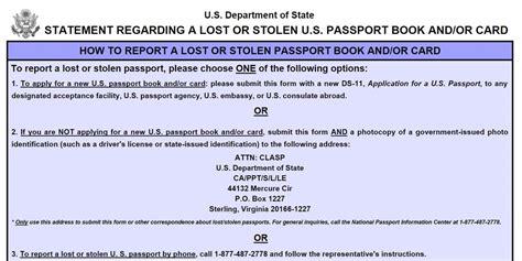 lost passport form ds 64 stolen lost passport application form passport