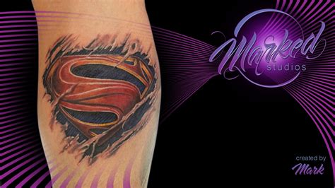 breaking skin tattoo superman torn flesh breaking through color