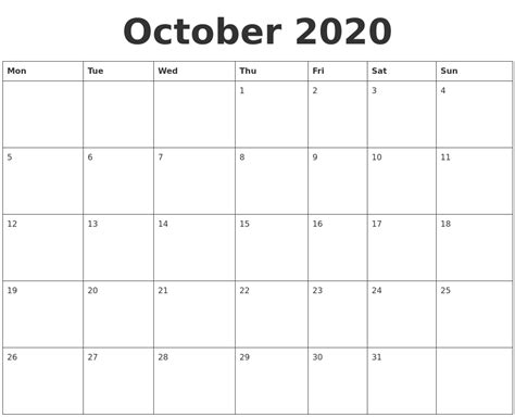 blank calendar template starting with monday october 2020 blank calendar template