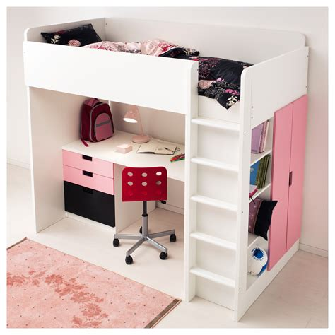 lade applique ikea stuva loft bed combo w 1 drawer 2 doors white pink