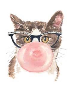 water color cat cat watercolor print pink gum retro glasses