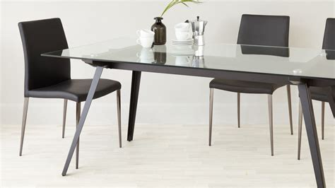 Glass Dining Table For 8 6 8 Seater Glass Dining Table Black Powder Coated Legs