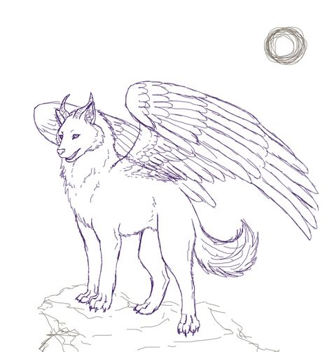 winged cat coloring page winged wolf sketch by stalaxy winged cat coloring page