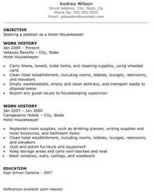 Resume Exles Housekeeping by Hotel Housekeeper Resume The Resume Template Site