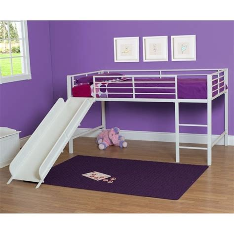 metal loft bed with slide metal twin loft slide bed in white 5513098