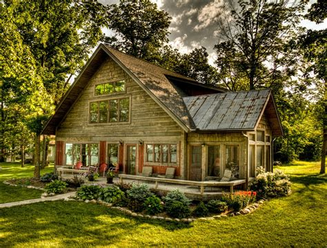 rustic house rustic cottage with red trim windows and dark wood rustic