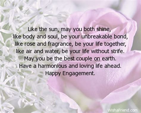 Message In Engagement Card like the sun may you both engagement card message