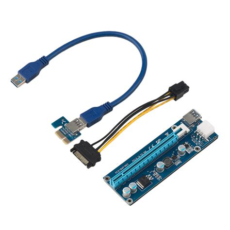 Pci Riser pcie 1x to 16x 6pin extender riser card adapter cable 0 3m