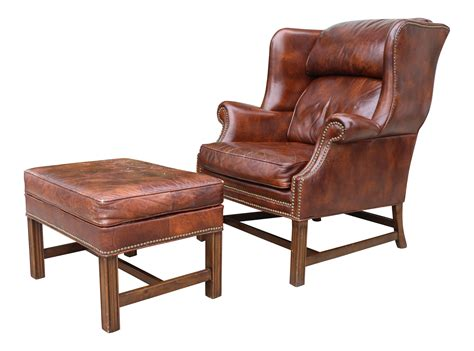 leather wingback chair and ottoman chairish