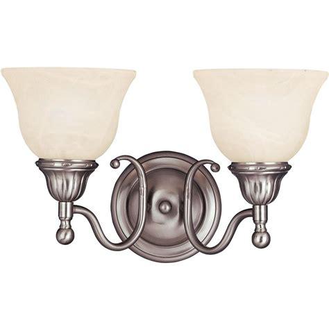 satin nickel vanity light kenroy home mezzanine 2 light brushed steel vanity light