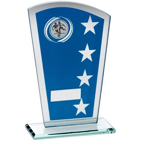 Engravable Vases Glass Shield With Football Insert Trophy 184mm 7 25