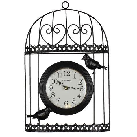 Bird Cage Wall Clock contemporary bird cage black wire metal wall clock