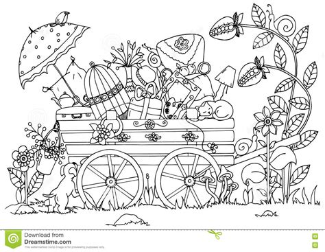 doodle drawing exercises vector illustration zentangl cart with things travel