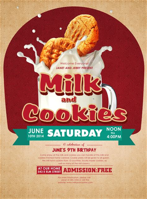 Milk Cookies Flyer Cookie Flyer Template Free