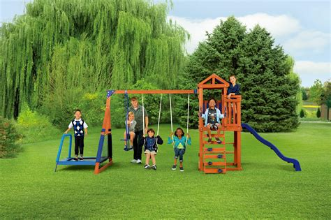 swing set online sportspower wood jump n swing set with troline shop