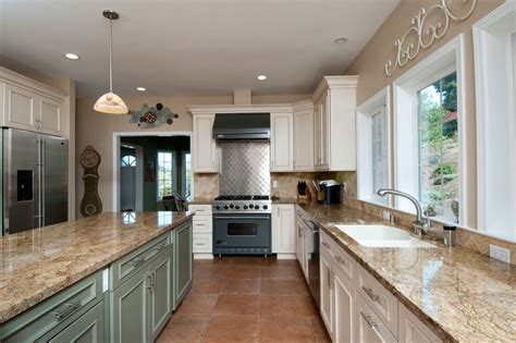 white kitchen cabinets with beige tile floor morespoons