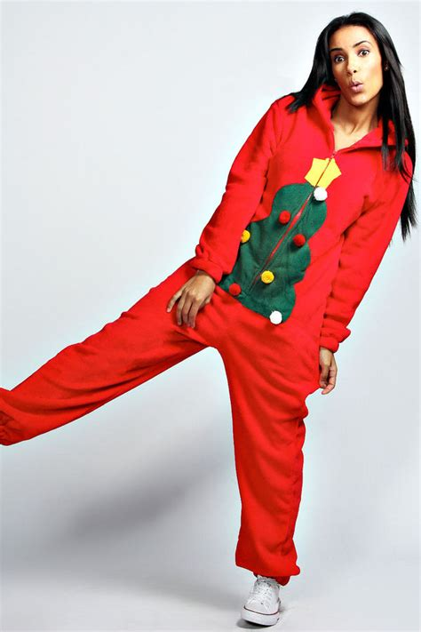 cozy holiday jumpers christmas tree onesie