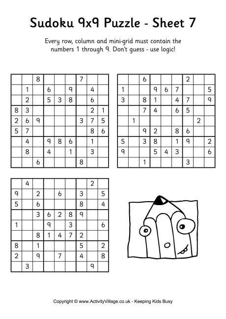free printable sudoku instructions sudoku 9x9 puzzle 7
