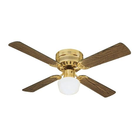 Ceiling Fan With 4 Lights Shop Design House Homestead 42 In Polished Brass Flush Mount Indoor Ceiling Fan With Light Kit