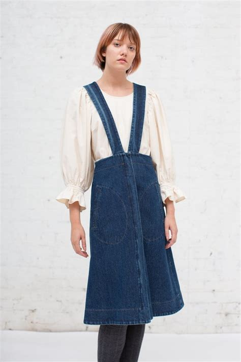 Suspender Denim Skirt caron callahan renee suspender skirt in denim garmentory