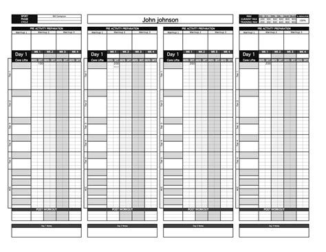 bronze strength conditioning templates excel training