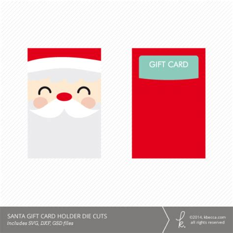 A Gift Card Santa - santa gift card holder die cuts svg included