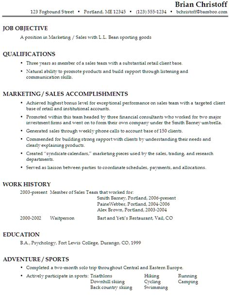 careers objectives sles functional resume sle marketing sales sporting goods