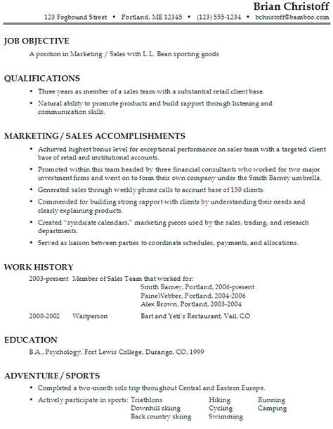 Functional Resume Sample: Marketing / Sales, Sporting Goods