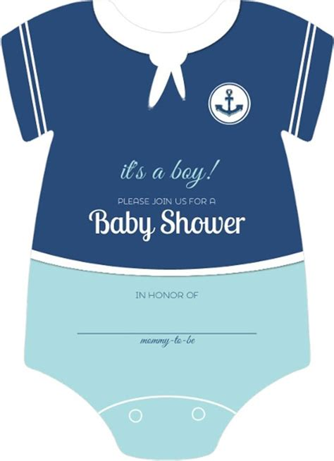 Baby Boy Shower Templates Invitations by Sailor Onesie Boys Nautical Themed Fill In Blank Baby