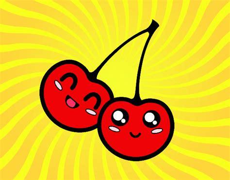 imagenes de frutas kawaii dibujo de cereza kawaii pintado por mimy kawai en dibujos