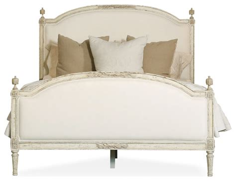 french headboard king dauphine french country weathered white linen upholstered