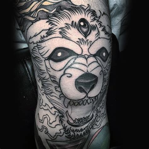 eyeball tattoo on knee black ink knee tattoo of demonic dog with three eyes