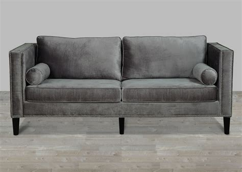 Grey Velvet Sofa With Nailheads