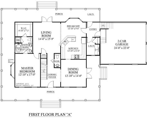 house plans first floor master house plan 2341 a montgomery quot a quot first floor plan traditional 1 1 2 story house plan