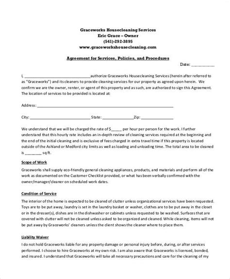 Cleaning Service Agreement Letter Sle Cleaning Service Contract 6 Exles In Word Pdf