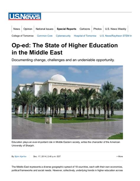 state of the middle the state of higher education in the middle east