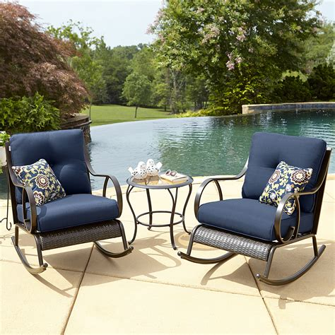 la z boy outdoor avery 3 piece bistro rocking chair set in