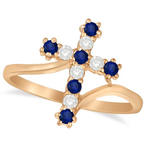 blue sapphire 8 33ct blue sapphire religious cross twisted ring 14k