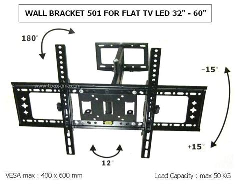 Tv Led Dinding wall bracket motion 501 for flat tv 32 60 inch