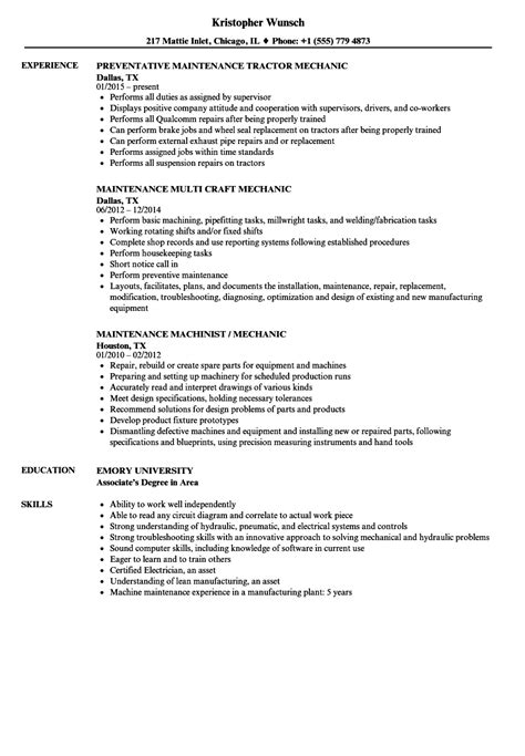 Maintenance Mechanic Maintenance Mechanic Resume Sles Velvet Jobs Maintenance Mechanic Resume Template