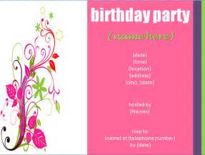 Birthday Invite Templates by Free Birthday Invitation Templates
