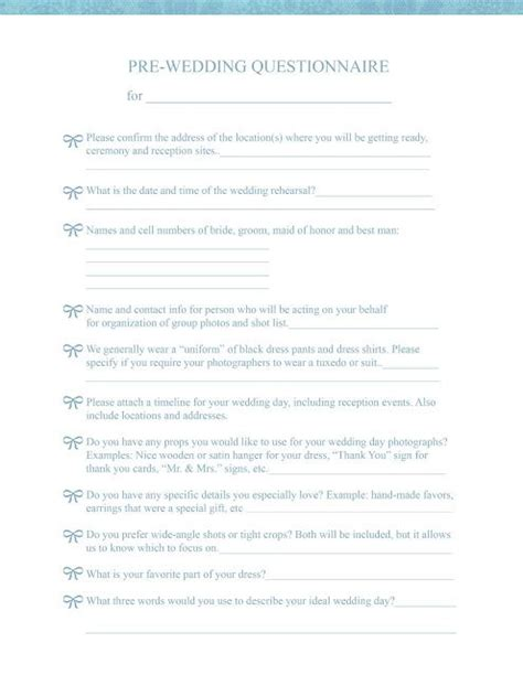 wedding information sheet template wedding photography questionnaire template studio