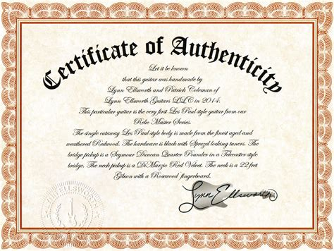 certificate of authenticity ellsworth guitars