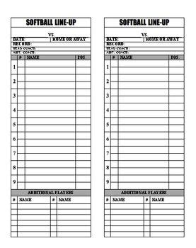 Official Lineup Card Template by Baseball Softball Line Up Roster Card Pdf For Coaches