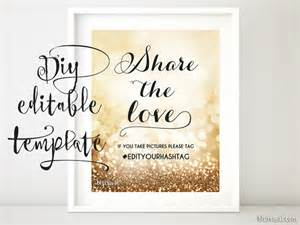 Wedding Sign Templates by Printable Hashtag Sign Template Diy Wedding By Blursbyaishop