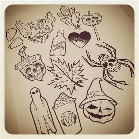 halloween tattoo flash image result for themed flash tattoos