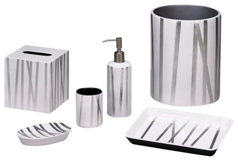 White And Silver Bathroom Accessories Grass Styx White Silver Bath Set Contemporary Bathroom Accessories By And June